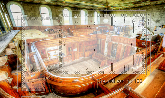 HDR image of the chapel space early in the development of the project. The upper decks have not been build at pews can be seen.