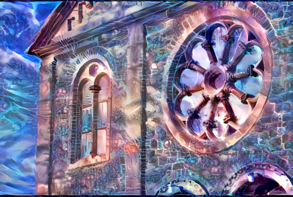 the outside of the chapel deep dreamed into the style of the future legends image